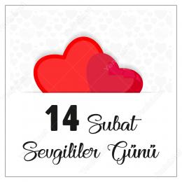 14 Şubat Sevgililer Gününe Özel İki Kalp Görünü Sticker Yapıştır