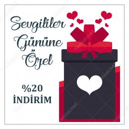 14 Şubat Sevgililer Gününe Özel İndirim Sticker Yapıştırma