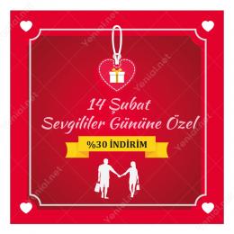 14 Şubat Sevgililer Gününe Özel Kalpli Sticker