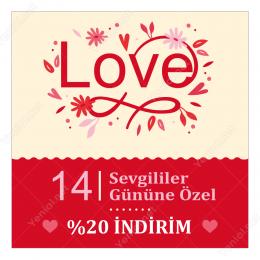 14 Şubat Sevgililer Gününe Özel Love Yazılı Sticker yapıştırma
