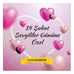 14 Şubat Sevgililer Gününe Özel Pembe Zeminli Sticker