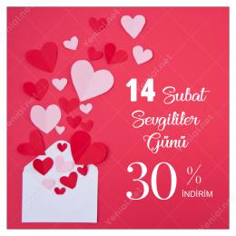 14 Şubat Sevgililer Gününe Özel Pembe Zeminli Sticker Yapıştırma