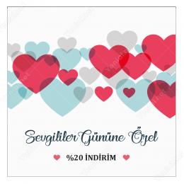 14 Şubat Sevgililer Gününe Özel Renkli Kalpli Sticker Yapıştırma