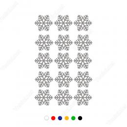 15 Adet Kar Tanesi Yılbaşı Süslemesi Stickeri Çıkartması