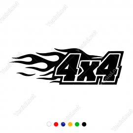 4x4 Ofroad Ateş Efektli Araba Sticker, Oto Çıkartma
