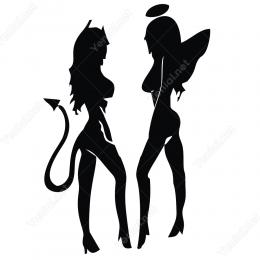 Seksi Kız Araba Sticker Melek Şeytan Güzellik