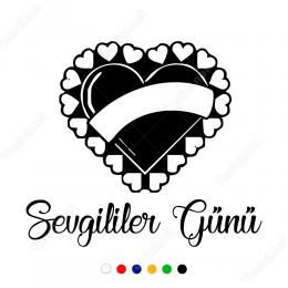 Sevgililer Günü Süslümeli Kalp Sticker Yapıştırma