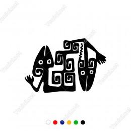 Afrika Desenlerinden Oluşmuş Kertenkele Sticker