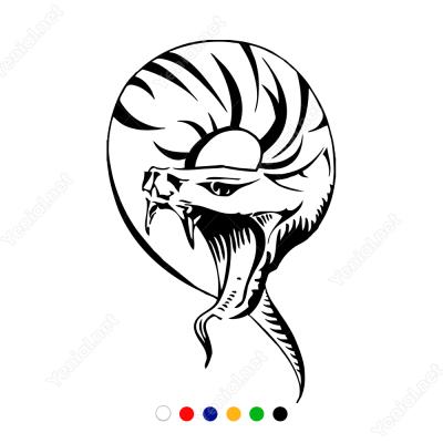 Ağzını Açmış Kopra Yılanı Sticker Yapıştırma
