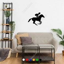 At İle Antreman Yapan Jokey At Yarışcısı Sticker