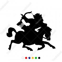 At Üzerinde Geriye Doğru Ok Atan Savaşcı Sticker