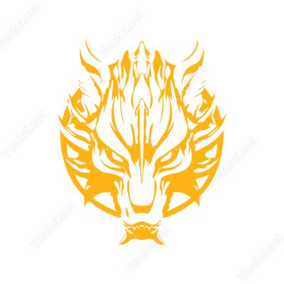 Ateş Efektli Sert Görünümlü Kurt Başı  Sticker