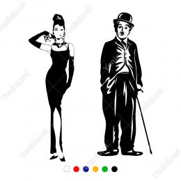 Audrey Hepburn ve Charlie Chaplin Wc Stickerı