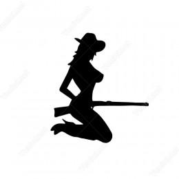 Avcı Kadın Sliueti Siticker
