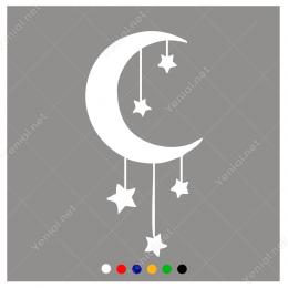 Ay ve İp ile Sarkıtılmış Yıldızlar Sticker Yapıştırma
