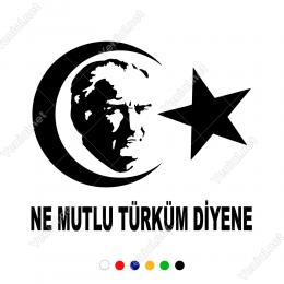 Ay Yıldız Atatürk Ne Mutlu Türküm Diyen Sticker Yapıştırma