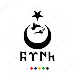 Ay Yıldız Kurt Türk Yazısı Göktürk Alfabesi Sticker Çıkartma
