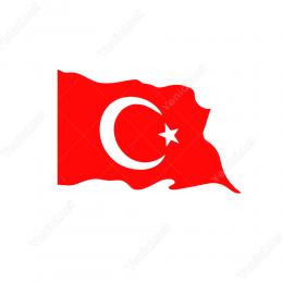 Ay Yıldız Türk Bayrağı Sticker Etiket