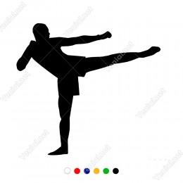 Ayaklarını Havaya Doğru Kaldıran Dövüşçü Adam Sticker