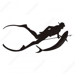Balık Avlayan Denizaltı Dalgıç Stickeri