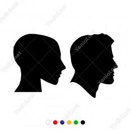 Bay Bayan Wc Yana Doğru Bakan Kadın Erkek Sticker