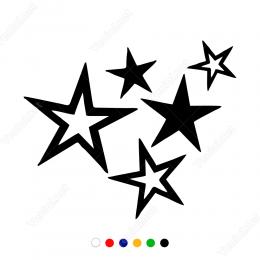 Beş Farklı Yıldız Çeşitleri Sticker Yapıştırma