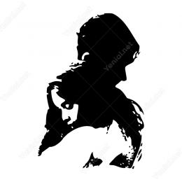 Birbirine Sarılmış Kız Erkek Sevgililer Sticker Etiket