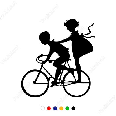 Bisikletle Gezinen Çoçuklar Sticker Yapıştırma