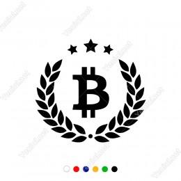 Bitcoin Para İşareti Yaprak ve Üç Yıldız Sticker