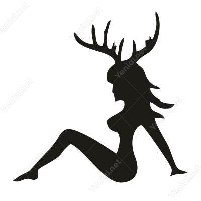 Boynuzlu Geyik Görünümlü Kadın Stickeri