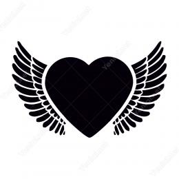 Büyük Kalp Ve Kanat Sticker Etiket Yapıştırma