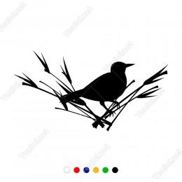 Çalılıkların Bitkilerin Üzerinde Duran Kuş Sticker