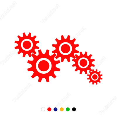 Çalışan Makina Dişlisi Sticker Yapıştırma