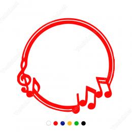 Çember Üzerinde Müzik Notaları Sticker