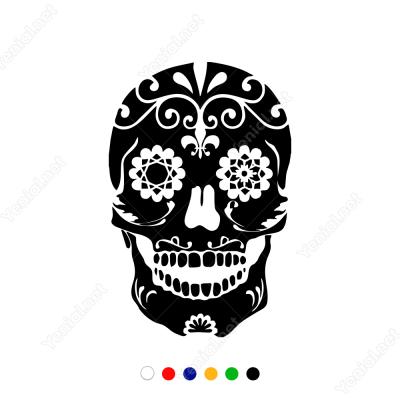 Çiçek Desenli Kuru Kafa Sticker Yapıştırma