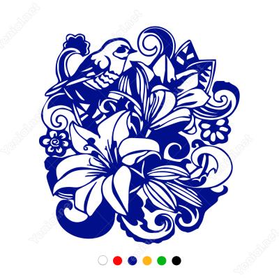 Çiçek ve Kuş Deseni Süslemesi Sticker Yapıştırma