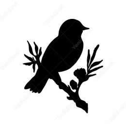 Çiçekli Dalda Kuş Sticker Yapıştırma Sticker