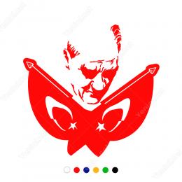 Çift Al Bayraklı Atatürk Görseli Sticker