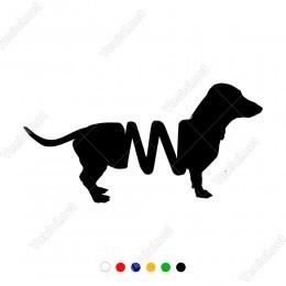 Dalgalı Bir Ayrım İle Oluşmuş Köpek Sticker