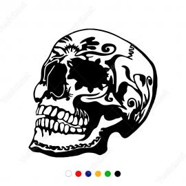Desen Motif Çizimli Kuru Kafa  Stickerı Yapıştırması