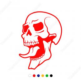 Dil Çıkarmış Kuru Kafa Sticker Yapıştırma