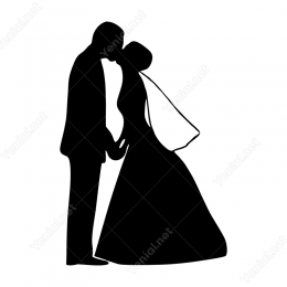 Düğünde Öpüşen Gelin Damat Araç Sticker Yapıştırma