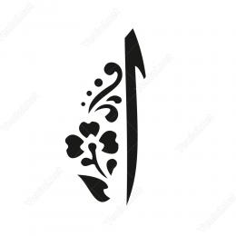 Elif Çiçek Desenli Harfi Mevlevi Sticker Etiket Yapıştırma