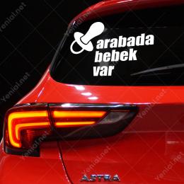 Emzik ve Arabada Bebek Var Yazısı Stickerı