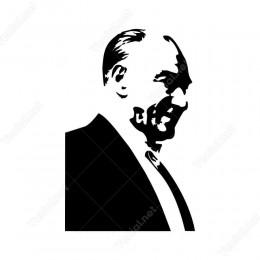 Gülümseyen Yandan Görünüş Atatürk Sitickeri