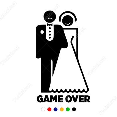 Game Over Düğün Araba Süslemesi Sticker Yapıştırma