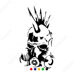 Gaz Maskeli Kuru Kafa Sticker Yapıştırma