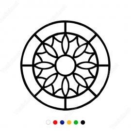 Geometrik Şekil Yuvarlak İçinde Çiçek Deseni Sticker