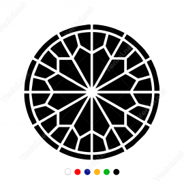 Geometrik Spiral Yuvarlak Çiçek Deseni Sticker