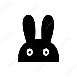 Gizli Gizli Bakan Sevimli Tavşan Sticker Yapıştırma